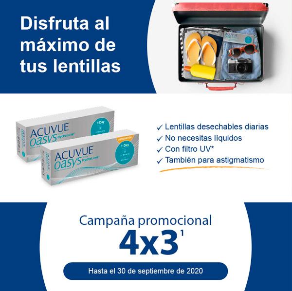 Promoción lentillas desechables 4x3 Acuvue Oasys 1-Day